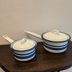 Vintage Pots White with Blue Stripes